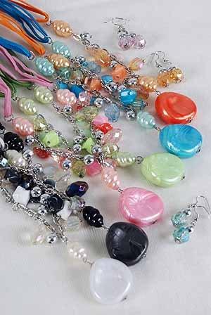 Necklace Sets Lucite W Pearls & Chains/DZ ** New Arrival** 6 Color Asst