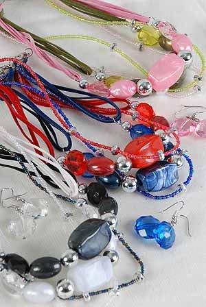 Necklace Sets Lucite W Silver Beads/DZ ** New Arrival** Color Asst