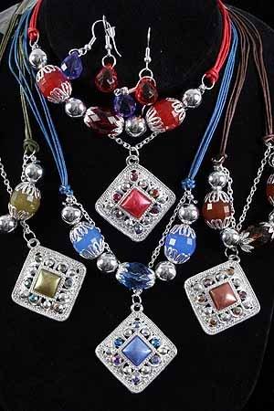 Necklace Sets Lucite W Square Pearl Drops/DZ **New Arrival** 6 Color asst