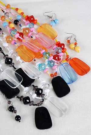 Necklace Sets Lucite With Oblong Block/DZ ** New arrival** 6 Color Asst