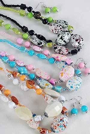 Necklace Sets Lucite W Spray Blocks/DZ ** New Arrival** 6 Color Asst