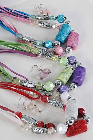 Necklace Sets Marble Block W silver Beads/DZ ** New Arrival** 6 Color Asst
