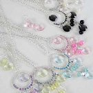Necklace Sets Metal Circle W Pearl & Crystal Drops/DZ ** New Arrival** 6 Color Asst