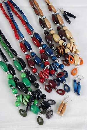 Necklace Sets Wood Color Asst 24''/DZ **NEW** 6 Color Asst
