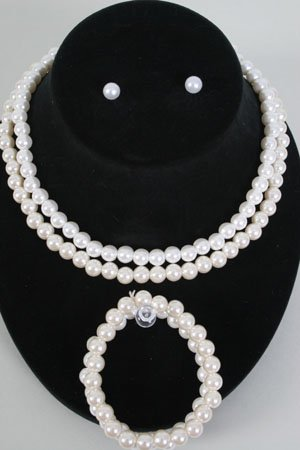 Pearl Necklace Set 8mm With Bracelet 18''/DZ Choose cream Or white Pearls