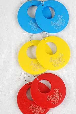 "Earrings Circle W Buttery Print 2.5"" Color Asst/DZ 6 Color Asst"