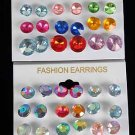 Earring 12Per Large AB Color Studs/DZ **HOT**Asst AB Multi Or Solid MultiColors