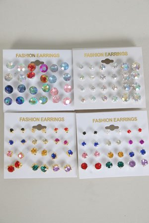 Earring 12pr Color studs/Dz **HOT**choose colors