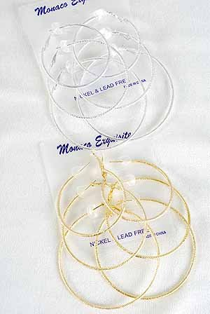 """Earring 3 Pair Mesh Hoop 2"""" 2.5"""" 3"""" 3Size mix/dz Choose Gold Or Silver Finish - pip/ston/272"""