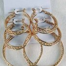 Earring 3pr hoops Twist/DZ choose Gold or Silver finish