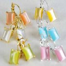 Earring cateye Oblong Asst Post/DZ*web* pink lime orange yellow aqua white mix