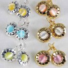 Earring Cateye Round post asst/DZ pink lime orange white yellow aqua mix - 50dz/cs