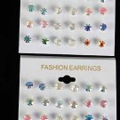 Earrings 12pcs Color Stud Pastel AB/DZ **NEW** Pastel AB Color Mix,Choose Gold Or Silver Finish