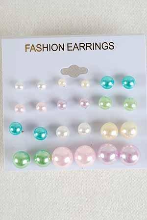 Earrings 12per ABS Pearl Pastel Color Asst/DZ **NEW** Pastel Color Asst