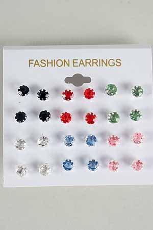 Earrings 12Per Pastel Color Studs /DZ Choose Colors Silver Pastel
