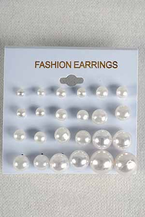 Earrings 12per White Pearls mix sizes/dz White