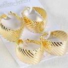 Earrings 2per Large Oval Metal Hoops Gold/DZ Gold