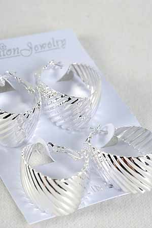 Earrings 2per Large Ovel Metal Hoops Silver/DZ Silver