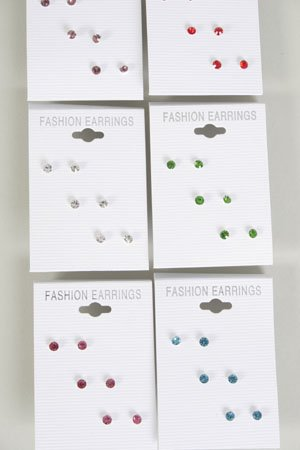 Earrings 3 Per Color Rhinestone Stud Mix /DZ 12 Color Asst