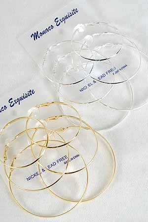 "Earrings 3 Per large Shiney Hoops 2"" 2.5"" 3"" 3 Size Mix/DZ choose gold or silver finish"