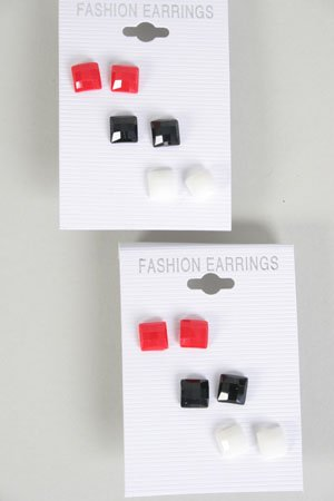 Earrings 3 Per Square Poly Red White Black Mix/DZ ** New Arrival** Color Asst