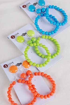 Earrings 3per Color Beads/DZ 6 Color Asst