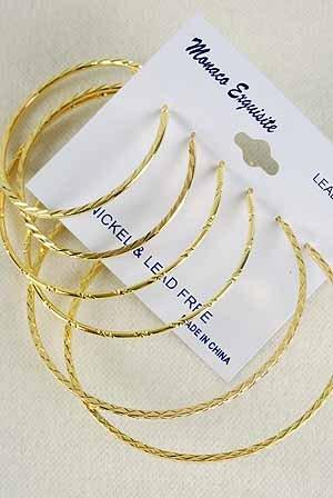 Earrings 3per Hoop Gold 5 6 7cm Size Mix /DZ Gold