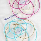 Earrings 3per Large Color Hoops 7 8 9cm Mix Size/DZ Color Hoop W Gold Loop Mix