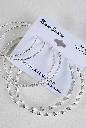 Earrings 3per Loops Silver Mix Style & Sizes/DZ Silver