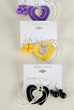 Earrings 3Per Mix Shape Epoxy Heart 7 color Asst/DZ ** New Arrival** 7 Color Asst