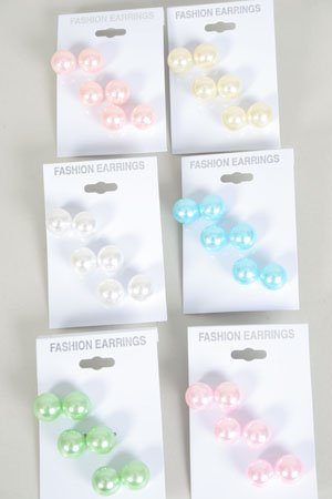 Earrings 3Per Pastel Pearls 12mm /DZ **HOT** Pastel Color ABS Pearl