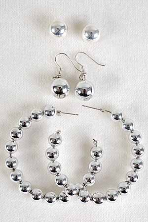 Earrings 3per Silver Beads/DZ Silver