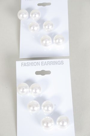 Earrings 3Per White Pearls 12mm /DZ **HOT** White ABS Pearls