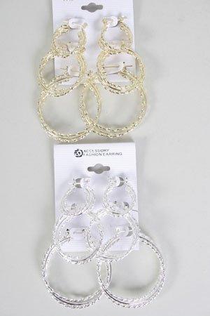 EarringS 3pr hoops W Twist Pincatch/DZ **New Arrival** Gold or silver