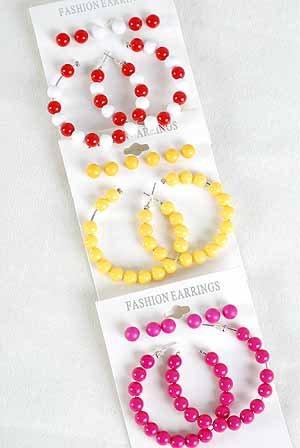 Earrings 4per Color Earrings/DZ 6 Color Asst
