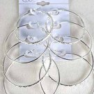 Earrings 4per Loop W Design Siz Mix/DZ Silver - Silver