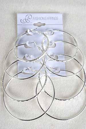 Earrings 4per Loop W Design Siz Mix/DZ Silver - Silver
