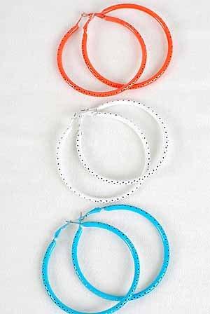Earrings 7cm Large Mesh AB Color Hoops/DZ 7cm,6 Color Asst