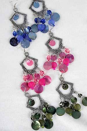 Earrings Antique Silver Shell With Charms Victorian Look/DZ **New** 6 Color Asst