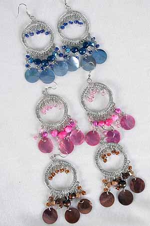 Earrings Antique Silver Shell With Wooden Beads/DZ **NEW** Victorian Look, 6 Color Asst