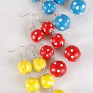 "Earrings Ball Polkadot Dangles2.5"" Long,Color Asst/DZ 6 Color Asst"