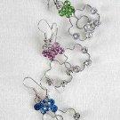 Earrings Brass Flower Shape W Rhinestone Dangle/Dz **Special Promation** 6 Color Asst