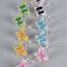 Earrings Butterfly Epoxy W Rhinestone/DZ ** New Arrival** Color Asst