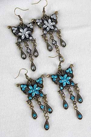 Earrings Butterfly Victorian Look/DZ **NEW**Post, 6 Color Asst