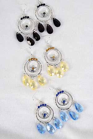 Earrings Cast Circle flower W Color Stones/DZ ** New Arrival** 6 Color Asst