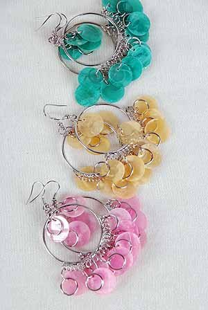 Earrings Chandelier W Paper Shells/DZ Blue Pink Yellow White Lime orange 6Color Asst
