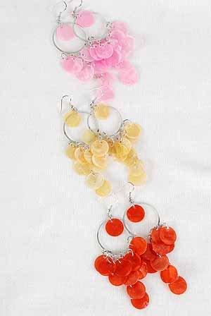 Earrings Chandelies W Paper Shells/DZ ** New arrival** 6 Color Asst