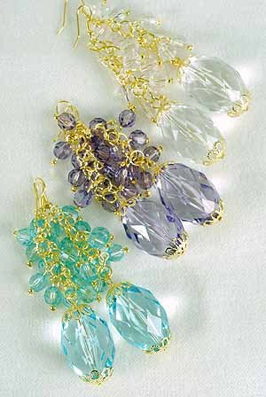 Earrings Chandlair With Large Crystals 2.5'' Long/DZ **NEW** 6 Color Asst