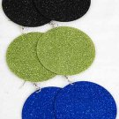 "Earrings Circle Dangle W Glitters 2.5"" Wide/DZ 6 Color Asst"