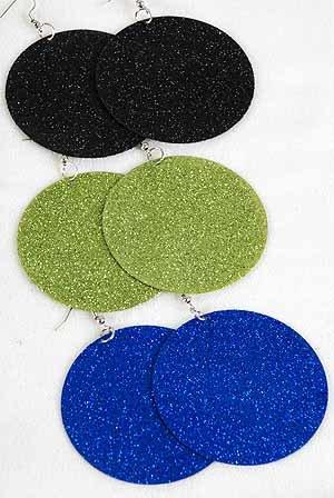 """Earrings Circle Dangle W Glitters 2.5"""" Wide/DZ 6 Color Asst"""